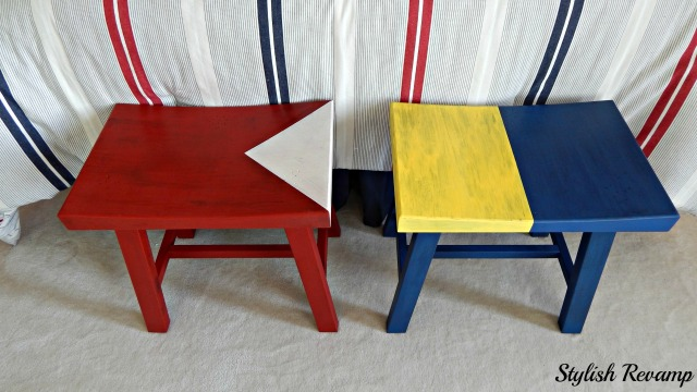 DIY Painted Nautical Letter Painted Stools from Target