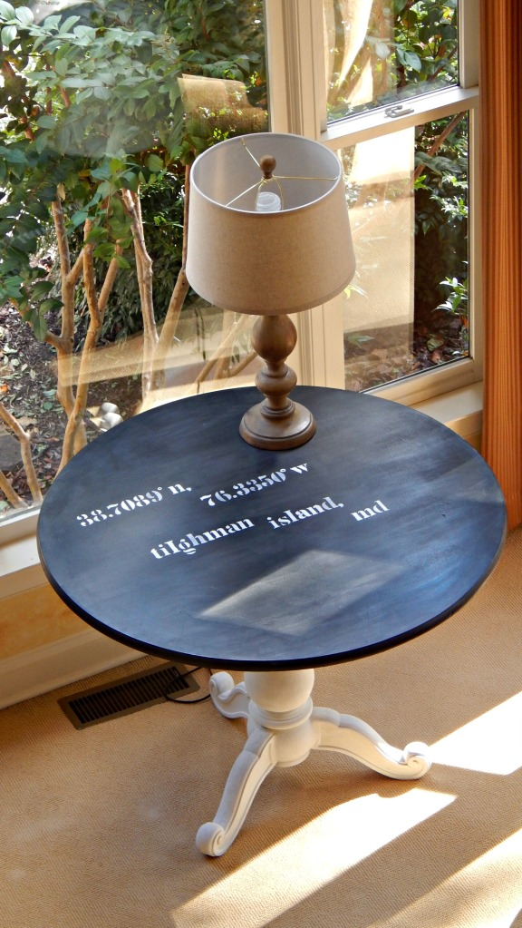 DIY Stenciled Longitude Latitude Table
