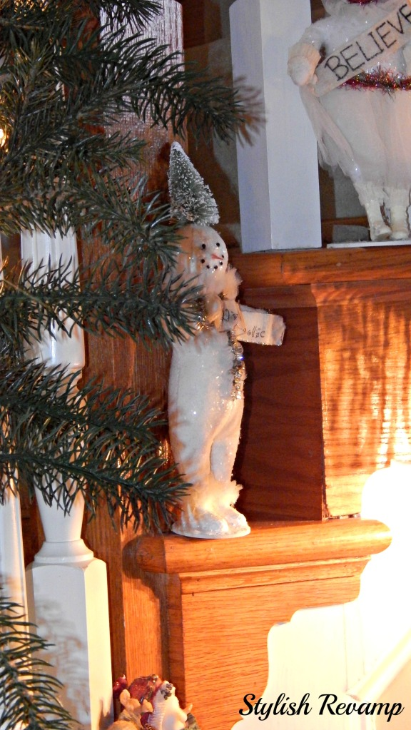 Banister decorated with Snowmen