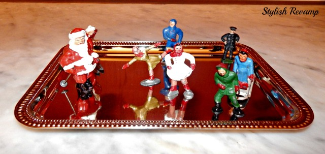 Vintage Christmas Village Skaters and sled
