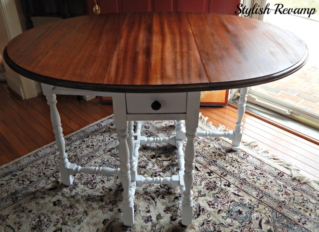 gateleg table white base stained top