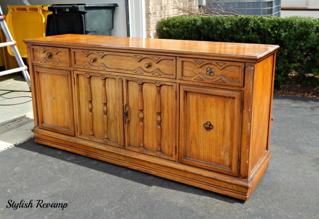 Oak Credenza Turned TV Stand