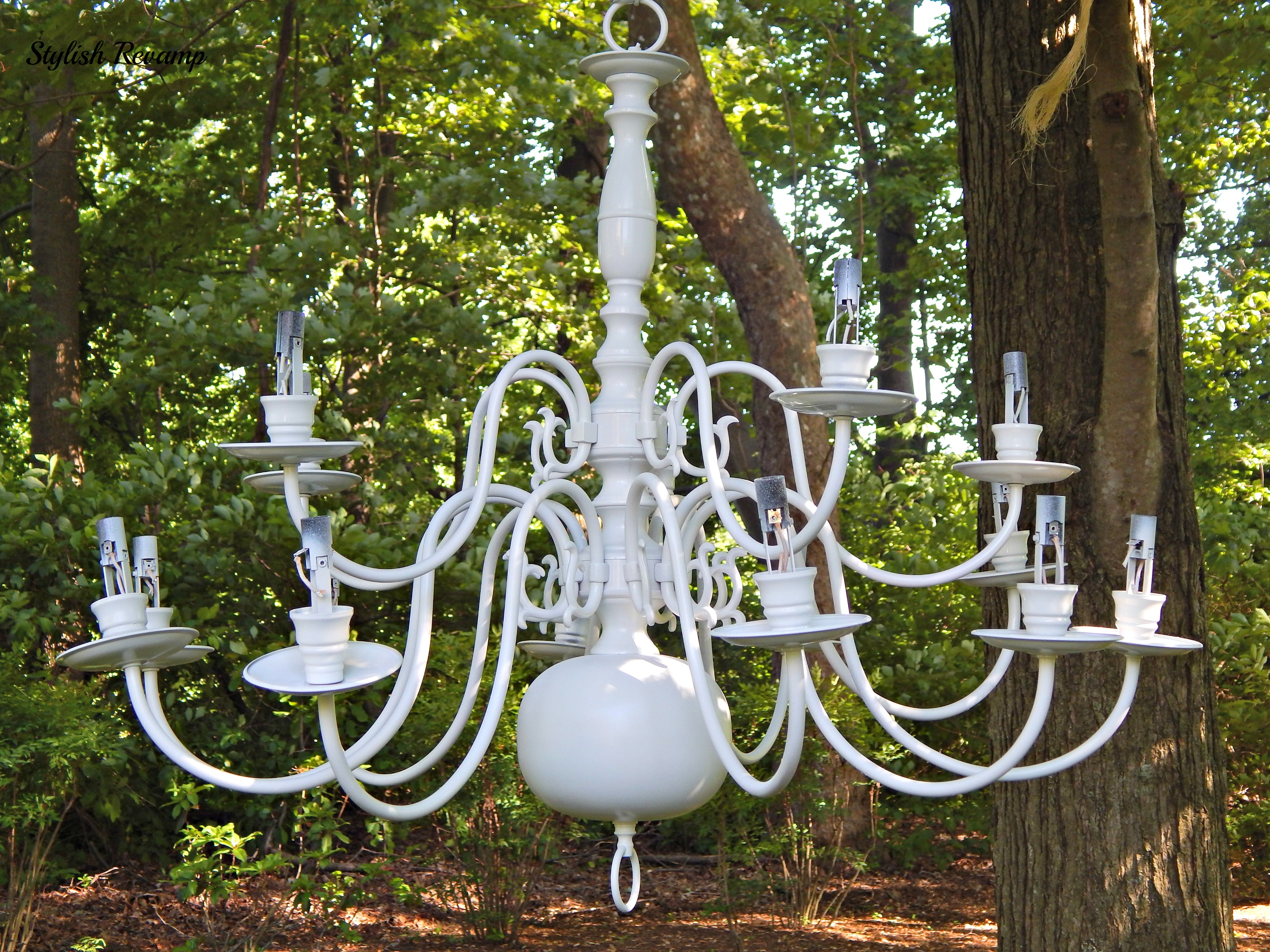 Outdoor chandelier stylish revamp white spray painted diy chandelier mozeypictures Gallery