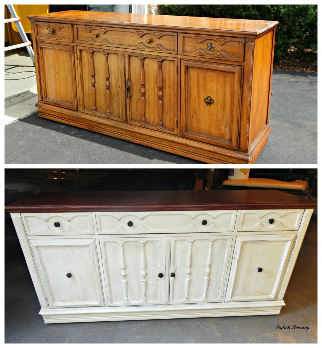 Oak Credenza From Goodwill DIY Chalk Paint