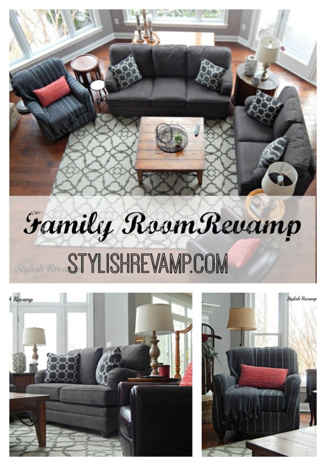 Family Room Revamp.  Using shades of gray to create a cozy but chic space.