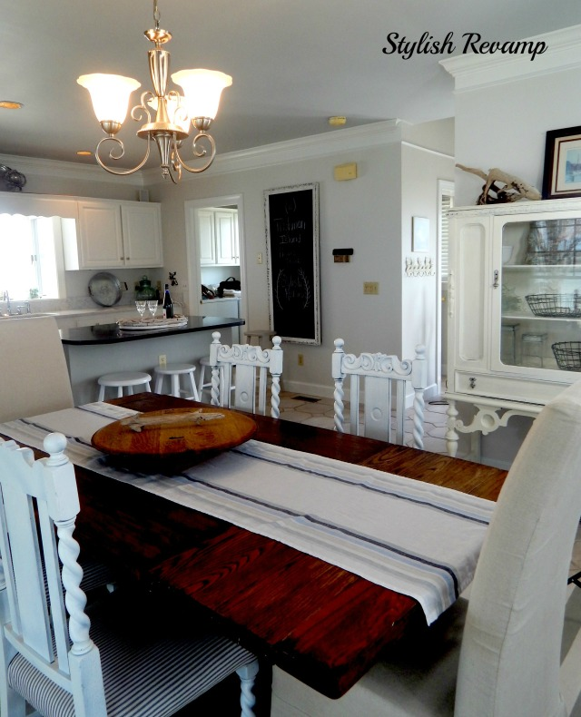 Antique Farmhouse style table in white kitchen