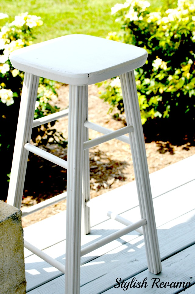 Painted Gray Vintage Stool