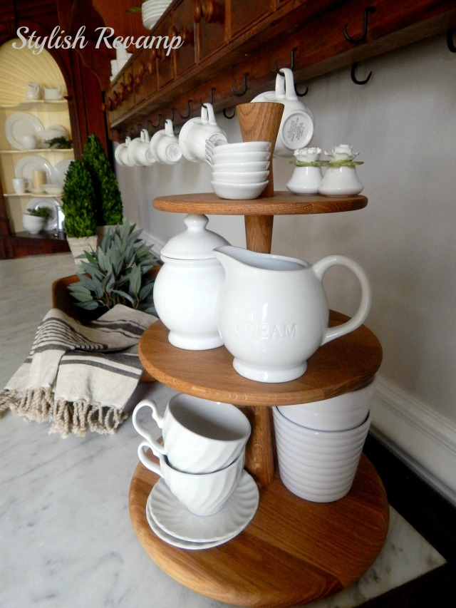 wooden tiered stand
